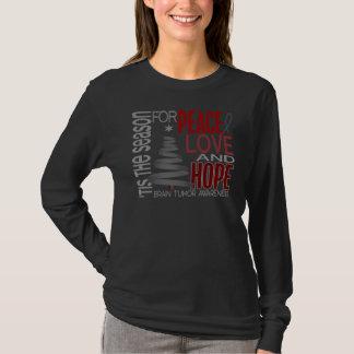 Peace Love Hope Christmas Holiday Brain Tumor T-Shirt