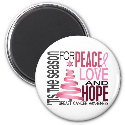 Peace Love Hope Christmas Holiday Breast Cancer 2 Inch Round Magnet