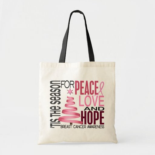 Peace Love Hope Christmas Holiday Breast Cancer Canvas Bag