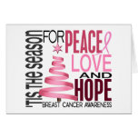 Peace Love Hope Christmas Holiday Breast Cancer Greeting Card