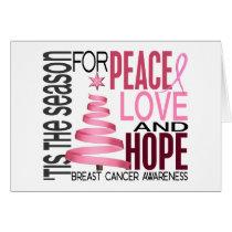 Peace Love Hope Christmas Holiday Breast Cancer Card