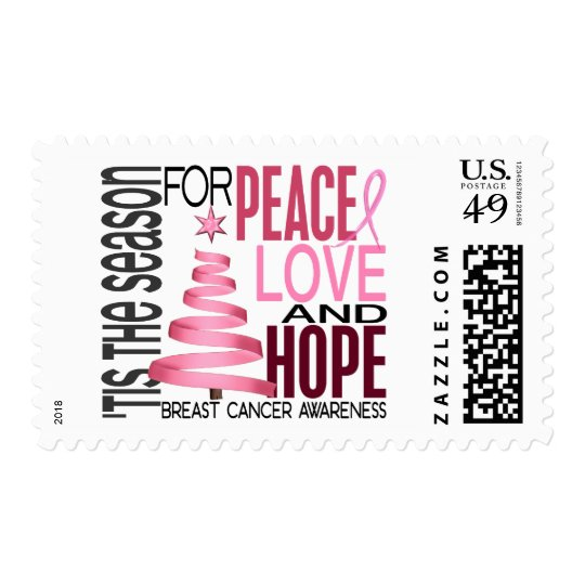 Peace Love Hope Christmas Holiday Breast Cancer Postage