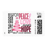 Peace Love Hope Christmas Holiday Breast Cancer Postage Stamp