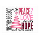 Peace Love Hope Christmas Holiday Breast Cancer Postcard