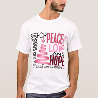 Peace Love Hope Christmas Holiday Breast Cancer T-Shirt