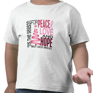 Peace Love Hope Christmas Holiday Breast Cancer Shirts