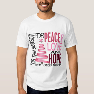 Peace Love Hope Christmas Holiday Breast Cancer Tshirts