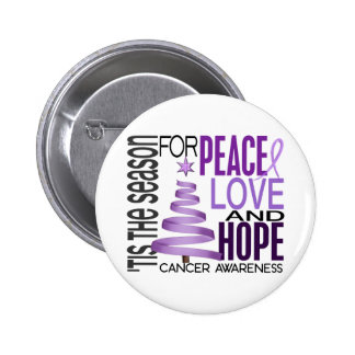 Peace Love Hope Christmas Holiday Cancer Button