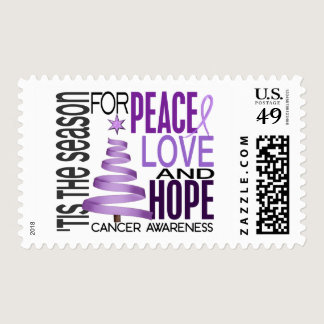 Peace Love Hope Christmas Holiday Cancer Postage