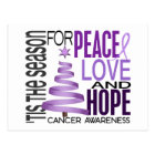 Peace Love Hope Christmas Holiday Cancer Postcard