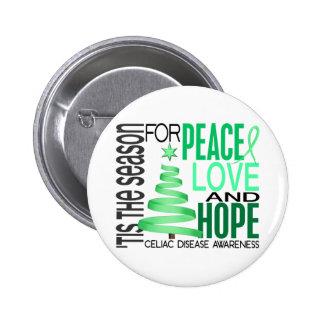 Peace Love Hope Christmas Holiday Celiac Disease Pinback Button
