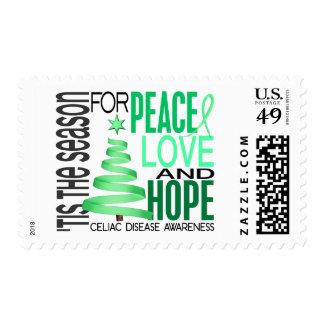 Peace Love Hope Christmas Holiday Celiac Disease Postage