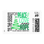 Peace Love Hope Christmas Holiday Celiac Disease Postage Stamps