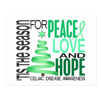 Peace Love Hope Christmas Holiday Celiac Disease Postcard