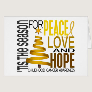 Peace Love Hope Christmas Holiday Childhood Cancer Card