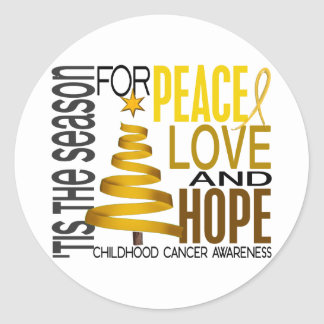 Peace Love Hope Christmas Holiday Childhood Cancer Classic Round Sticker
