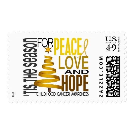 Peace Love Hope Christmas Holiday Childhood Cancer Postage