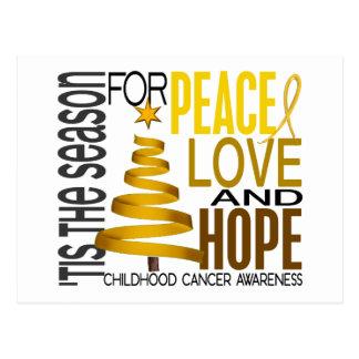 Peace Love Hope Christmas Holiday Childhood Cancer Postcards