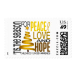 Peace Love Hope Christmas Holiday Childhood Cancer Stamp
