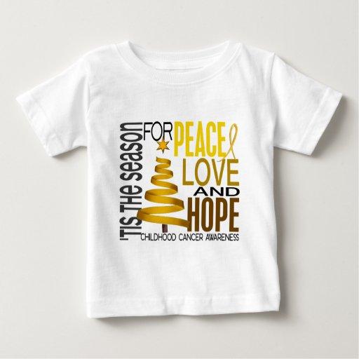 Peace Love Hope Christmas Holiday Childhood Cancer Tee Shirt