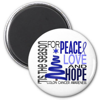 Peace Love Hope Christmas Holiday Colon Cancer 2 Inch Round Magnet
