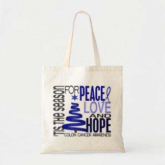 Peace Love Hope Christmas Holiday Colon Cancer Tote Bag