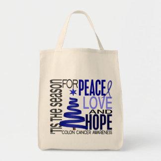 Peace Love Hope Christmas Holiday Colon Cancer Bag