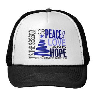 Peace Love Hope Christmas Holiday Colon Cancer Mesh Hats