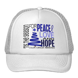 Peace Love Hope Christmas Holiday Colon Cancer Trucker Hat