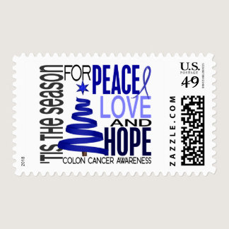 Peace Love Hope Christmas Holiday Colon Cancer Postage