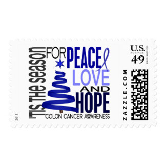 Peace Love Hope Christmas Holiday Colon Cancer Postage Stamp