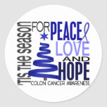Peace Love Hope Christmas Holiday Colon Cancer Round Sticker
