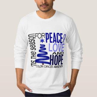 Peace Love Hope Christmas Holiday Colon Cancer Tshirt