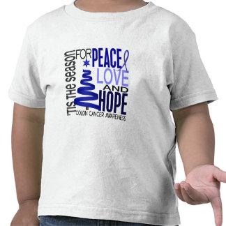Peace Love Hope Christmas Holiday Colon Cancer Tshirts