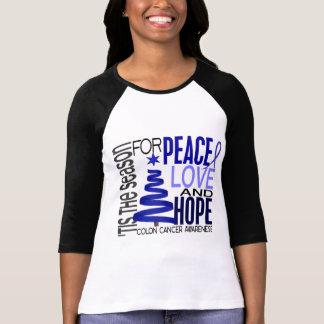 Peace Love Hope Christmas Holiday Colon Cancer T Shirt