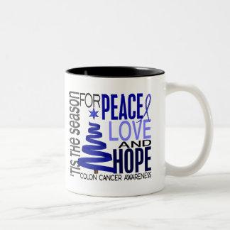 Peace Love Hope Christmas Holiday Colon Cancer Two-Tone Coffee Mug