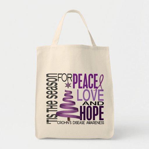 Peace Love Hope Christmas Holiday Crohn's Disease Tote Bags