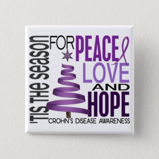 Peace Love Hope Christmas Holiday Crohn's Disease Button