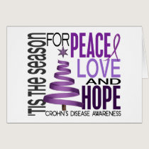 Peace Love Hope Christmas Holiday Crohn's Disease Card