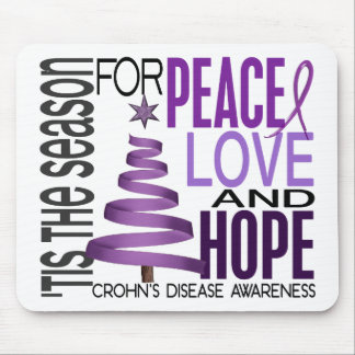 Peace Love Hope Christmas Holiday Crohn's Disease Mousepad