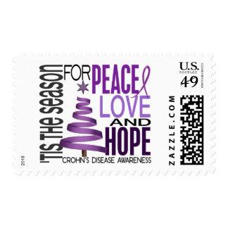 Peace Love Hope Christmas Holiday Crohn's Disease Stamps