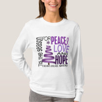 Peace Love Hope Christmas Holiday Crohn's Disease T-Shirt