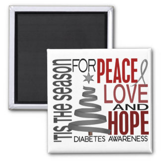 Peace Love Hope Christmas Holiday Diabetes 2 Inch Square Magnet