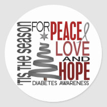 Peace Love Hope Christmas Holiday Diabetes Classic Round Sticker