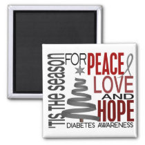 Peace Love Hope Christmas Holiday Diabetes Magnet