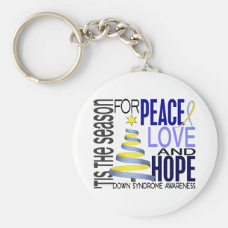 Peace Love Hope Christmas Holiday Down Syndrome Basic Round Button Keychain