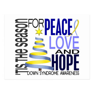 Peace Love Hope Christmas Holiday Down Syndrome Postcards