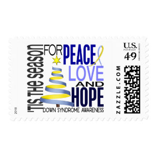 Peace Love Hope Christmas Holiday Down Syndrome Stamp