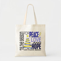 Peace Love Hope Christmas Holiday Down Syndrome Tote Bag