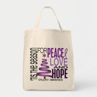Peace Love Hope Christmas Holiday Epilepsy Tote Bag